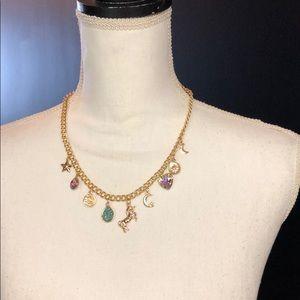 Gold unicorn druzy star moon necklace earrings